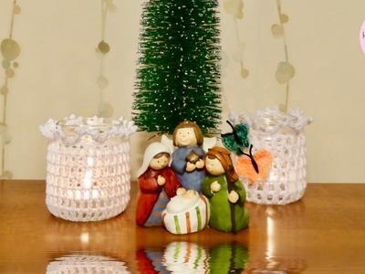Portavelas a crochet facil, paso a paso, y saludo navideño.