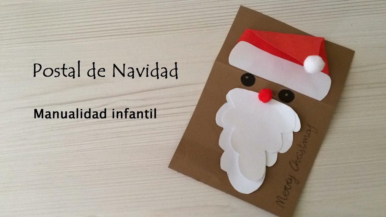 Postal navide a diy manualidad infantil merry christmas - Postal navidena infantil ...