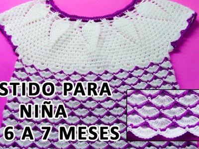 Vestido tejido a crochet para niña de 6 a 7 meses