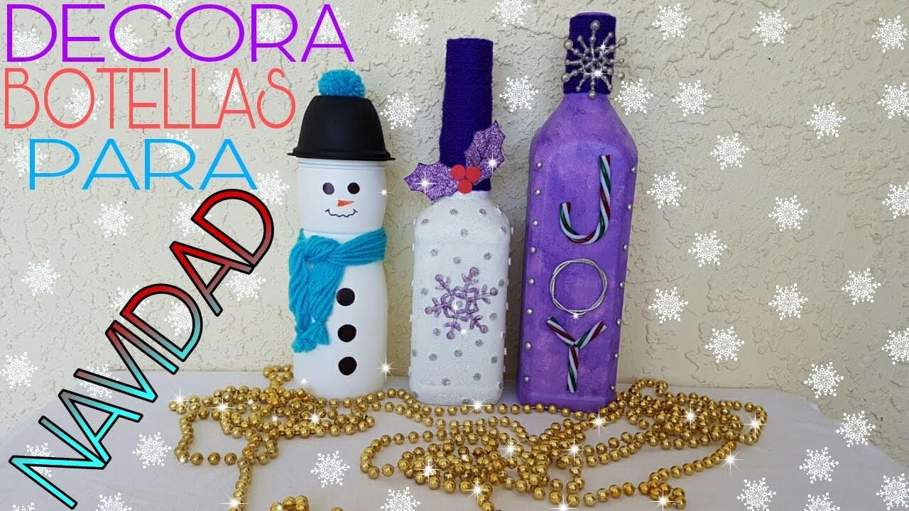 Botellas decoradas para navidad diy for Botellas de vidrio decoradas para navidad