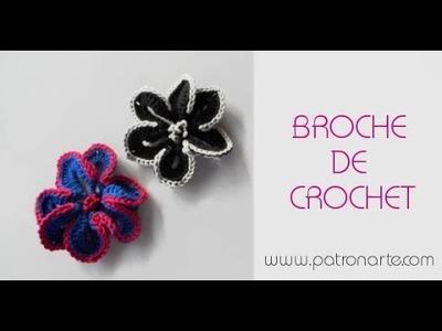 Broche de crochet   flor de crochet