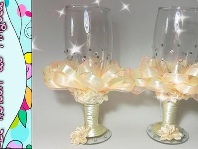DIY Como decorar copas de bodas  Copas para novios