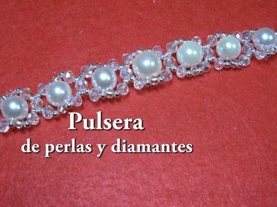 #DIY - Pulsera de perlas y strass #DIY - Pearl and Rhinestone Bracelet