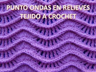 Punto a crochet N° 25 ondas en relieves para suéteres y cobijas de bebe paso a paso