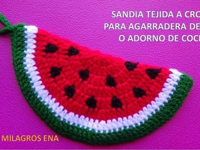 Sandia tejida a crochet paso a paso para agarradera de ollas o adorno de cocina