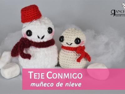 TEJE CONMIGO: Muñeco nieve para Navidad (ganchillo)