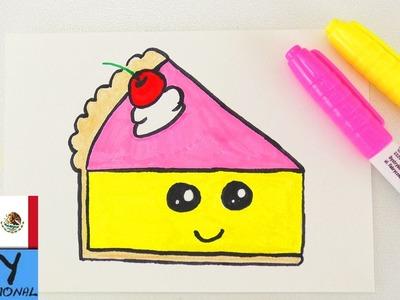 Tutorial de dibujo: Trozo de pastel   Idea para tarjetas de regalo de cumpleaños