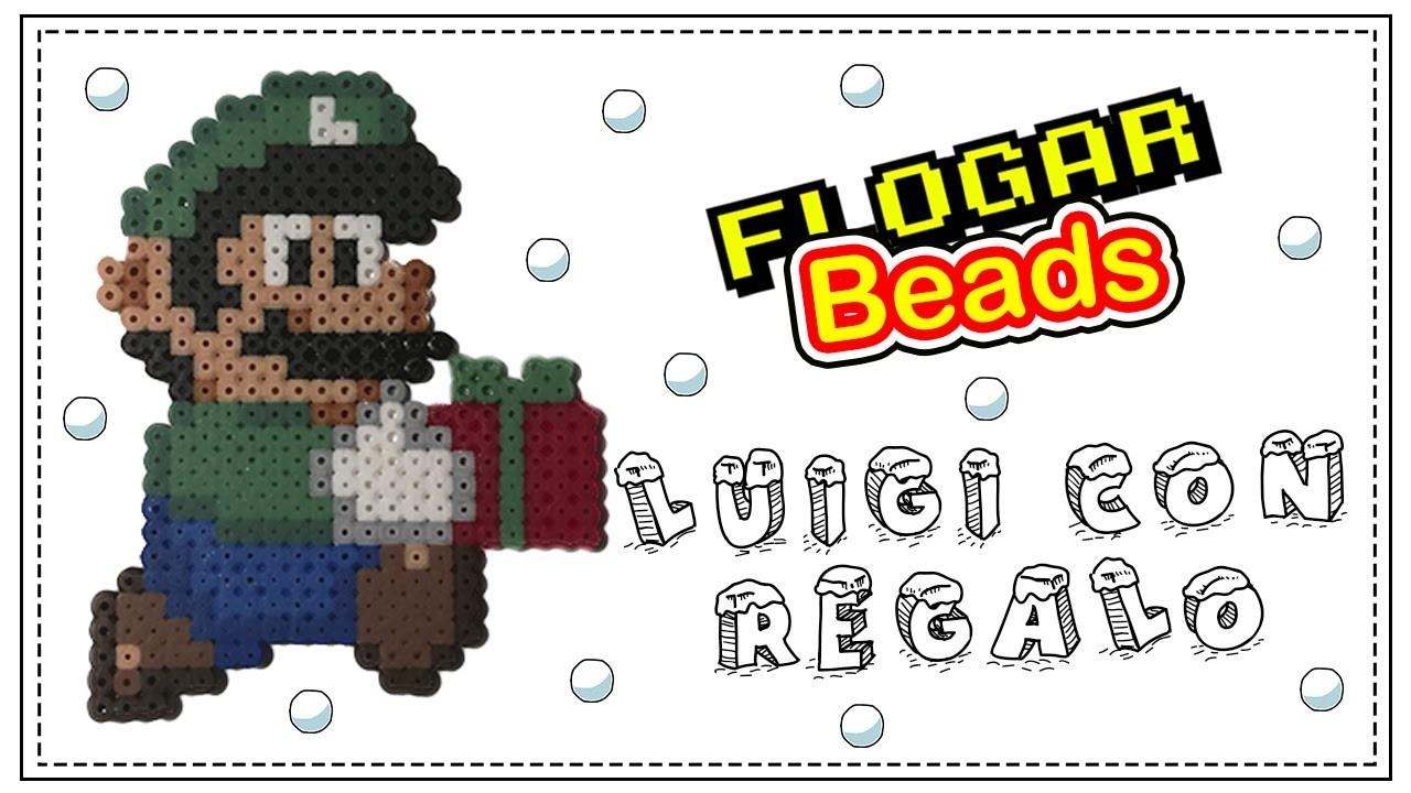 LUIGI CON REGALO DE NAVIDAD CON HAMA BEADS - IDEAS HAMA BEADS #6