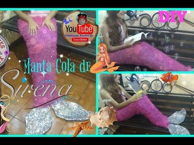 Manta o Cobija Cola de Sirena DIY SIN COSER Muy Fácil. Mermaid Tail Blanket