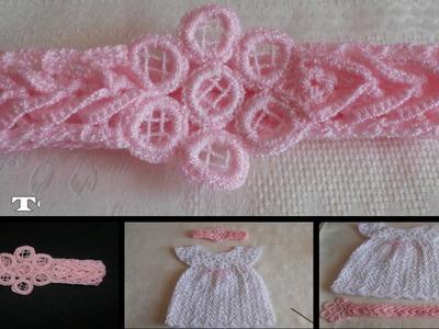 Tiara - diadema - vincha - banda en crochet, punto fantasía