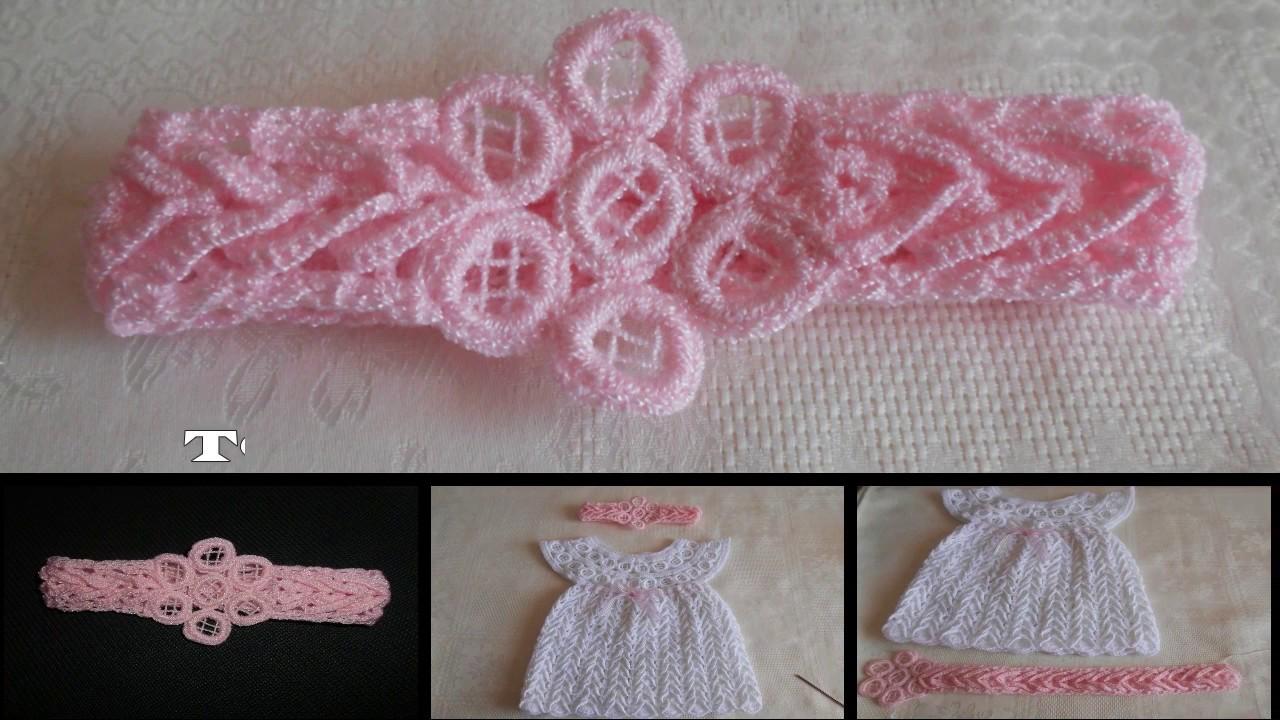 Tiara diadema vincha banda en crochet punto fantas a for Diademas para bebes de ganchillo