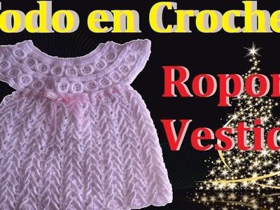 Vestido ropón parte 3  bautizo, presentación talla 0 a 3 meses