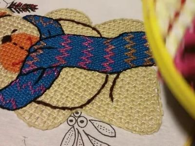 Bordado fantasia bufanda oso con nochebuena 2 de 6