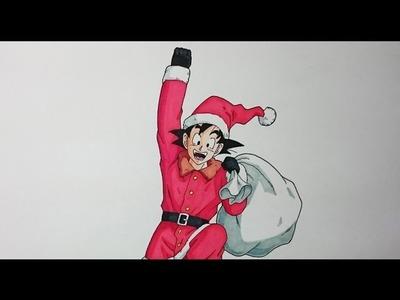 Cómo dibujar a Goku Santa Claus + pequeño mensaje de Navidad :)