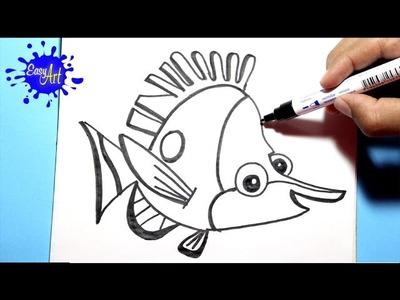 Como dibujar a tad  - how to draw butterflyfish - (Buscando a nemo)