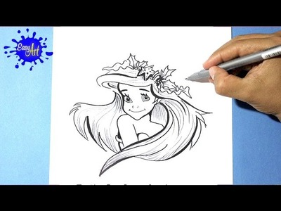 Como dibujar la sirenita l how to draw a mermaid l como dibujar una princesa Disney