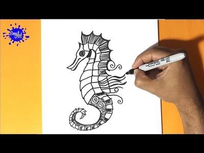 Como dibujar un caballo de mar - How to draw a sea horse - Buscando a nemo