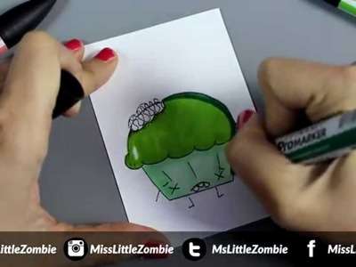 Cómo dibujar un cupcake zombie