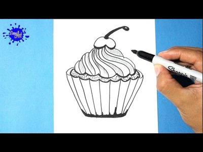 Como dibujar un pastel l how to draw a cake l Como dibujar un cupcake  l Feliz cumpleaños