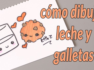 Cómo dibujar un vaso de leche y galleta. How to draw a cute glass of milk and a cookie
