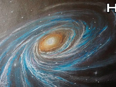 Cómo Dibujar una Galaxia y Estrellas Paso a Paso con Lápices Pastel