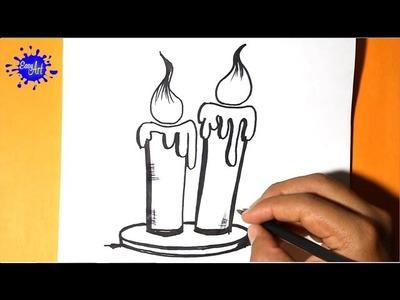 Como dibujar una vela halloween - como dibujar una vel - halloween