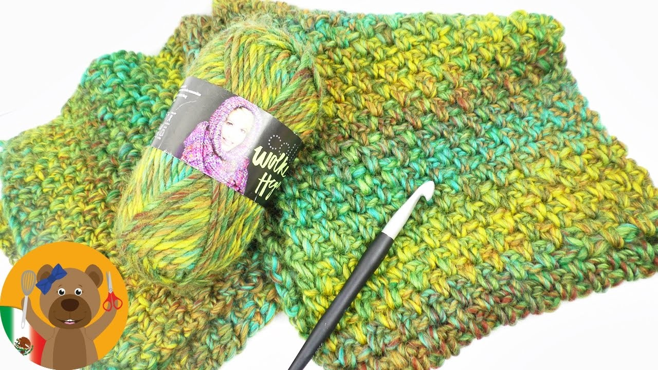 Gran bufanda para el invierno, Patrón perlas, Tutorial para tejer ...