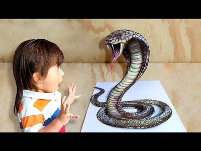 How to draw a 3D snake. Cómo dibujar  una culebra 3D.Ilusion optica
