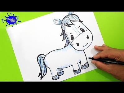 How to draw a horse l Como dibujar un caballo paso a paso l animales de  La granja