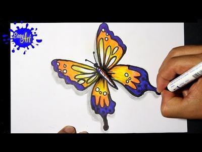 How to draw butterfly 3 - como dibujar una mariposa - como pintar una mariposa