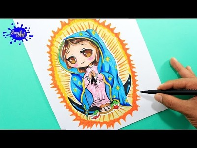 How to draw Guadalupe virgen. como dibujar la virgen de Guadalupe
