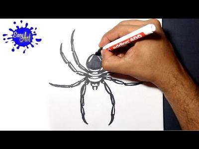 How to draw spider 3 - como dibujar una araña - drawing