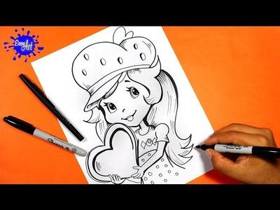 How to draw Strawberry Shortcake l Como dibujar a fresita rosita 3