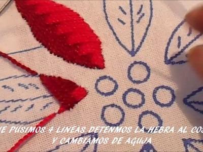 PASO A PASO PUNTADA PARA NOCHE BUENA Y HOJAS #02