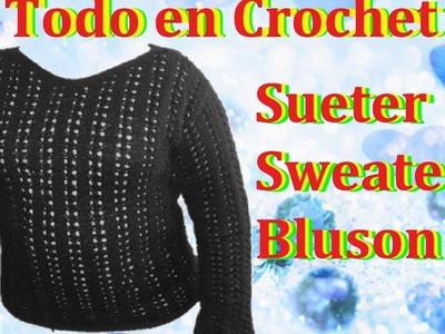 Suéter.blusón en dos agujas parte 3 de 4