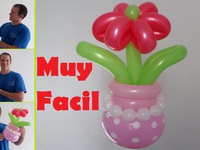 Como hacer flores con globos largos - globoflexia fácil flores - como hacer un florero con globos