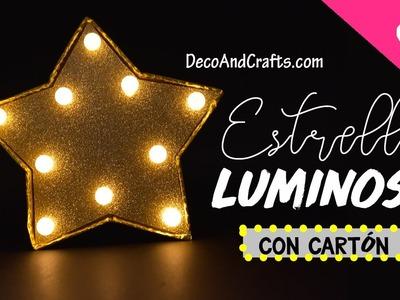 Lampara de cartón estrella Luminosa para el Arbol de Navidad - DecoAndCrafts