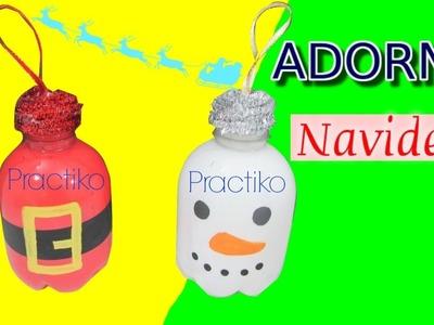 Manualidad botellas navideñas de plástico reciclado para árbol de Navidad- Practiko