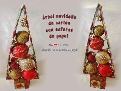 Árbol navideño de cartón con esferas de papel - Christmas cardboard tree with paper spheres