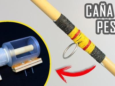 Caña de Pescar Casera y Carrete de Pesca Casero