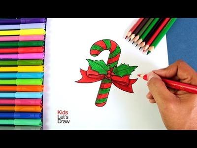Cómo dibujar un Bastón de Caramelo de Navidad | How to draw Christmas Candy Cane