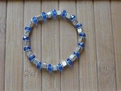 Como hacer una pulsera con  bola de cristal  PULSERA CRISTAL BLUE