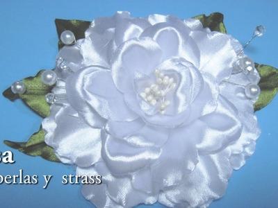 #DIY - Rosa blanca con perlas y strass##DIY - rose with pearls and rhinestones