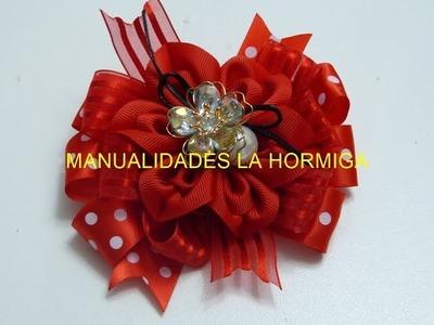Moño grande liston satinado  y  organza con flor petalo corazon. Flores de Cetim. Rosa, video 563