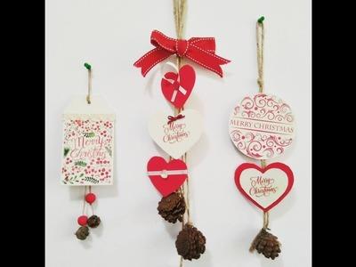 3 adornos navideños con cartón y transferencias de imágenes- colaboración con MYBA
