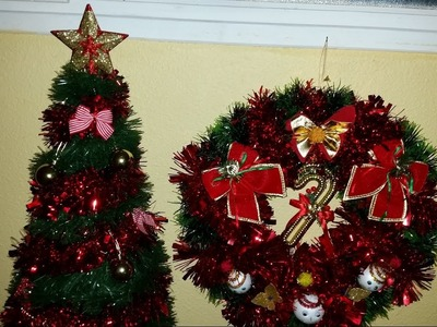 Como hacer arbol y corona de navida facil y economico y reciclado