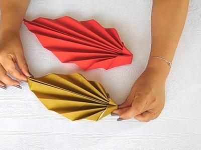 Doblar servilletas de papel - Decorar la mesa con servilletas - Servilleta forma hoja