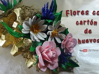 Flores con cartón de huevos 2a parte - Flowers with egg carton
