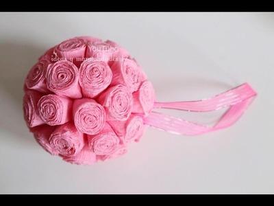 Mini Pompones de flores de Papel