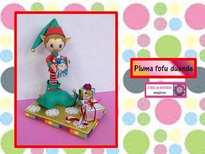 ♥♥PLUMA DECORADA CON FOFU-DUENDE♥♥ Regalos navideños-♥♥CREACIONES mágicas♥♥